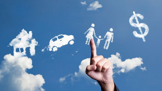 a hand reaching up to the blue sky, pointing to a cloud shaped like a wife and child and husband holding hands; and there's a cloud shaped like a dollar sign, one shaped like a car and another shaped like a house