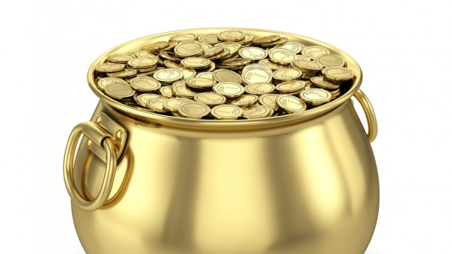 a gold pot filled with gold coins