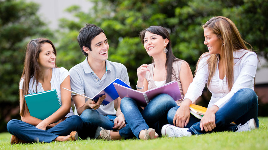 four college students sitting next to each other, in the grass, with spiral-bound notebooks in their laps