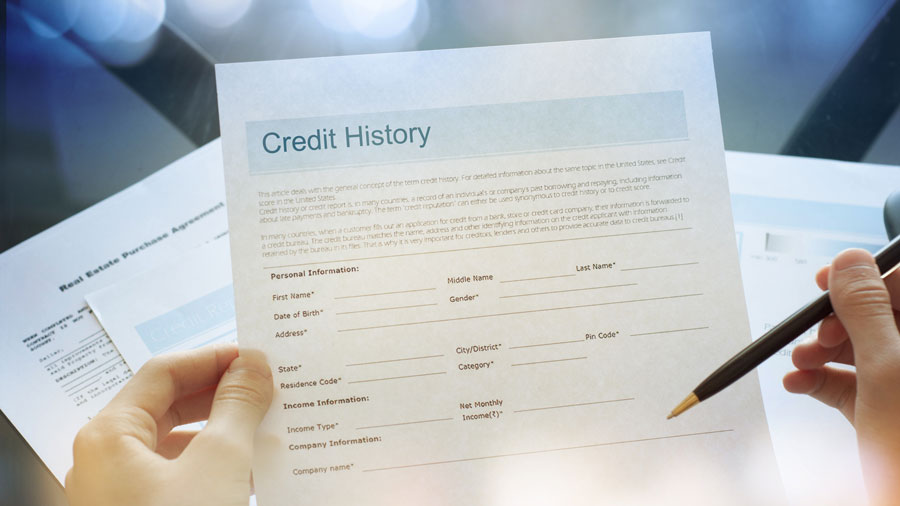a hand holding a pen and a form for credit history